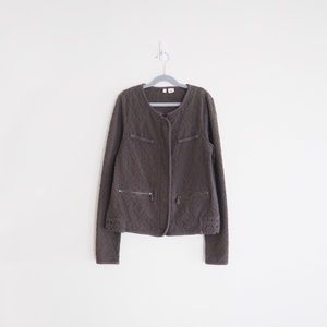 Anthro Moth Quilted Jacquard Moto Jacket
